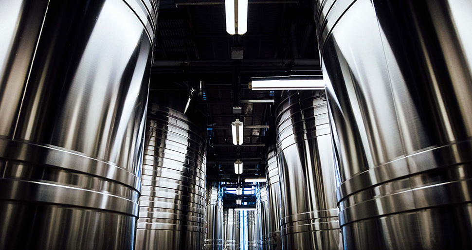 The fermentation vat storage hall was entirely rebuilt in 2008. This is where the art of blending village crus, grape varietals and years takes place.